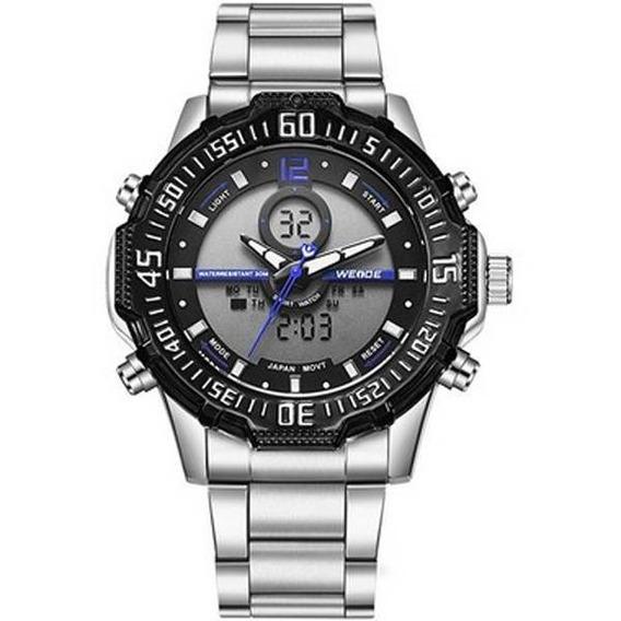 Relógio Masculino Weide Anadigi Metal Azul