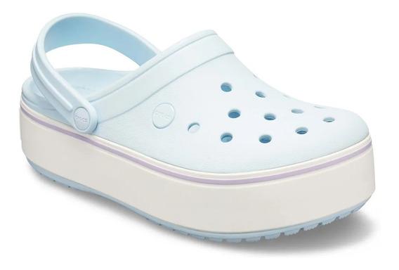 Crocs Crocband Plataforma Clog Celeste