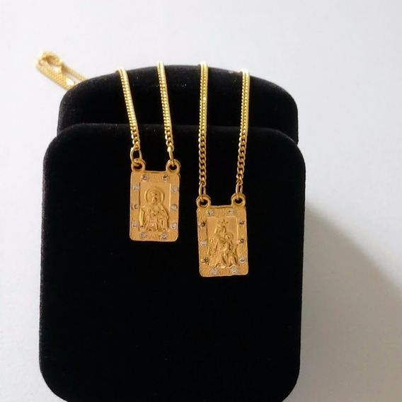 Escapulário Feminino Com Zircônia Banhado A Ouro Com Caixa