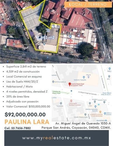 Terreno En Venta En Coyoacán $92,000,000.00 Pesos.