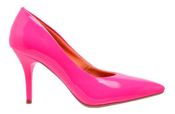Sapato Scarpins Feminino Verniz Neon Salto Medio Fino 7 Cm