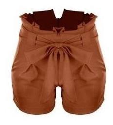Kit 4 Shorts Bengaline Cintura Alta Com Laço Social Feminino