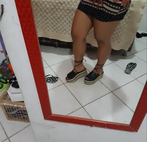 Sandália Plataforma, Alta, Preta, 35