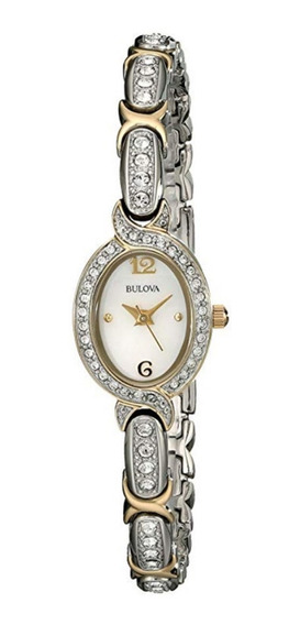 Bulova 98l005 Swarovski Crystal Two Tone Bracelet Ladies Wat