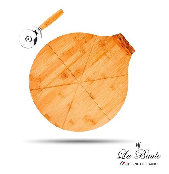 Tabla Pizzera La Baule De Bamboo Con Cortapizza