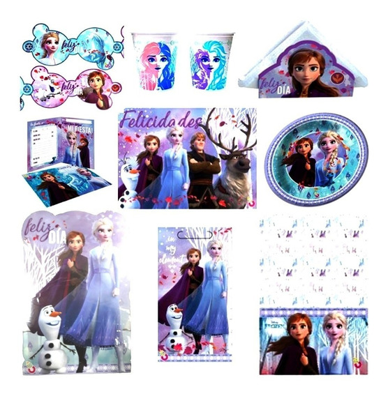 Kit Cotillon Frozen 2 20 Chicos Mantel Platos Servilletas