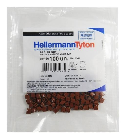 Identificador Para Cabos Hellermanntyton 5 Números 100 Unidades Marrom Hellermanntyton Ltda