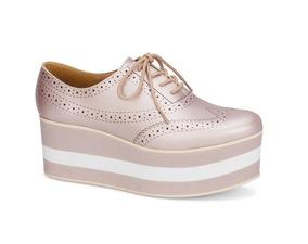 Zapatos Tenis Oxford Andrea Rosas Con Plataforma 7 Cms Alto