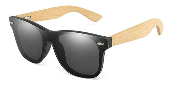 Óculos De Sol Madeira Bambo Masculino Reto Flat Polarizado