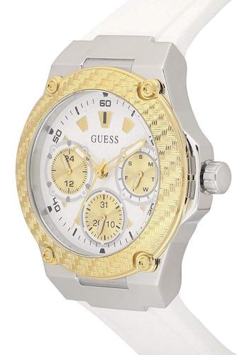 Reloj Guess W1094l1 Pulso De Goma Blaco Y Dorado Original