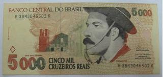 C239: Bela Cédula 5000 Cruz Reais 1993 - Soberba