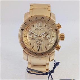 Relógio Atlantis A3310 Dourado Masculino Origi Tipo Bulgari