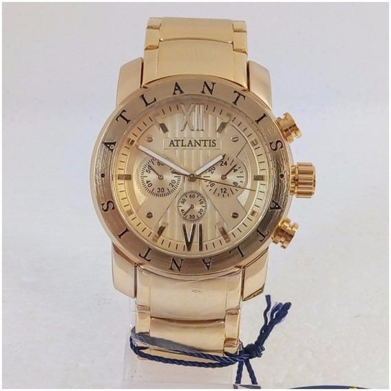 Relógio Masculino Atlantis A3310 Dourado Original Tipo Bugary Top Vip