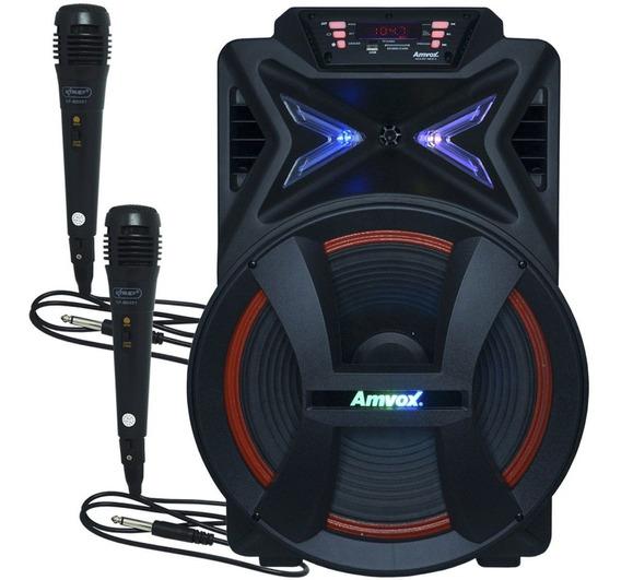 Caixa Som Portátil Amplificada 500w Bluetooth + 2 Microfones