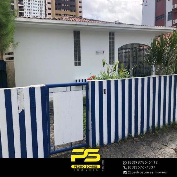 [ Casa Comercial ] Com 5 Dormitórios Para Alugar, 390 M² Por R$ 4.500/mês - Tambaú - João Pessoa/pb - Ca0620