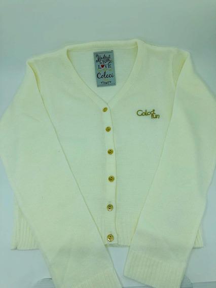 Cardigan Colcci Fun Menina Com Botões Off White 30% Off