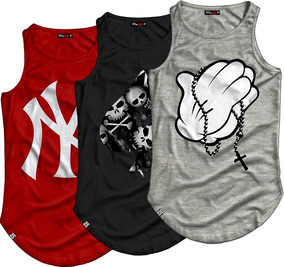 3 Camisetas Regata Longline Oversized Swag Street Wear Style