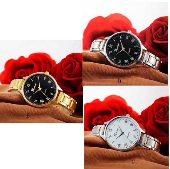 Relógio Feminino Geneva Aço Inoxidável Em Caixa M D F Kit 3