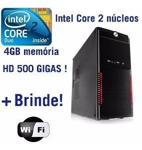Pc Cpu Core 2 Duo 4gb Hd 500gb Gamer +gravador Dvd E Wi-fi