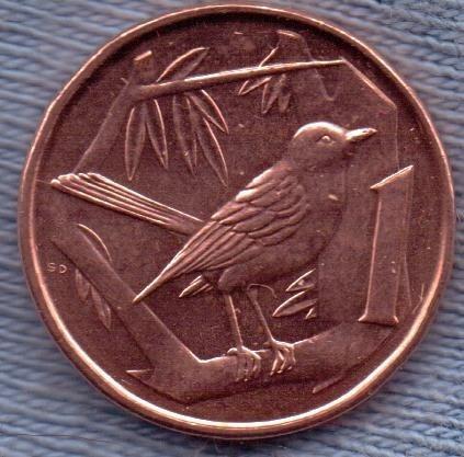Islas Caiman 1 Cent 1996 * Zorzal Gran Caiman *