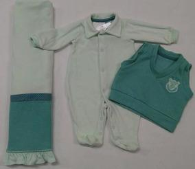 Saida De Maternidade Plush Paraiso Bebê Menino Colete 7049
