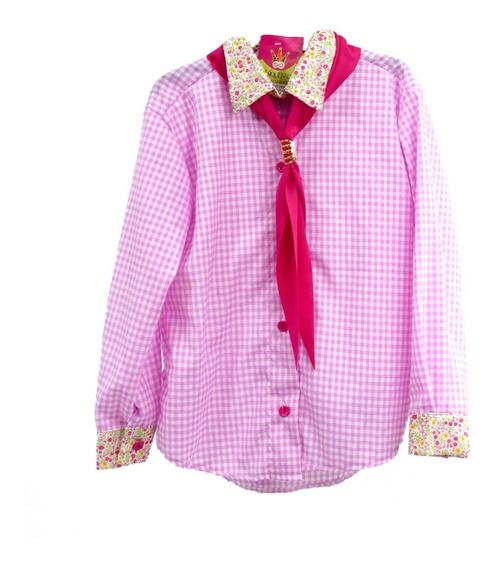 Camisa Menina Infantil Rosa Com Lenço Masquerade Fantasias