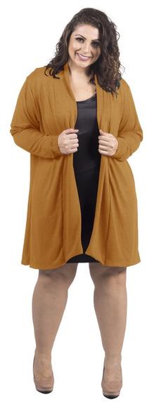 Cardigan Plus Size Lã Casaco Tricot Chique Frete Grátis