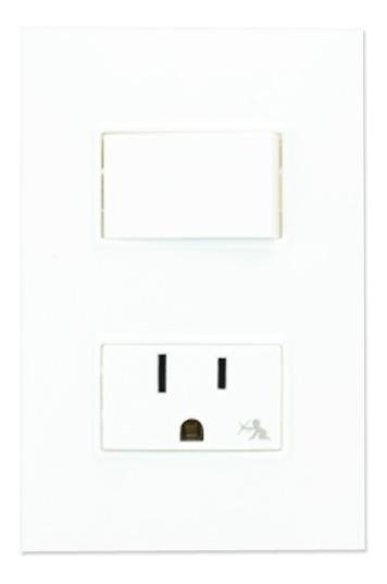 Placa + 1 Interruptor 2 Vías + 1 Toma Corriente C/ Sist Seg.