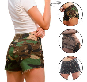 Short Feminino Camuflado Moda Militar Cintura Alta Fox Boy