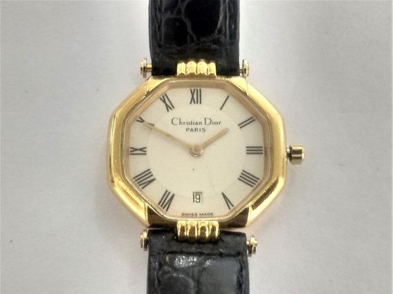 Relógio Christian Dior Paris Deposè Feminino. Folhado A Ouro
