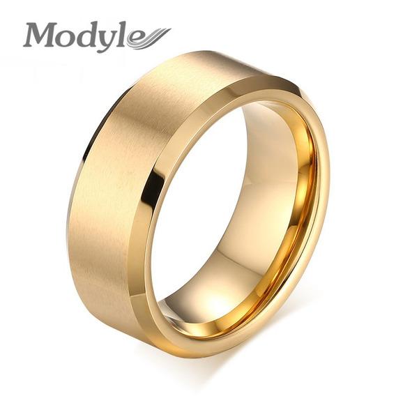Anel Aliança Titânio Gold Banhado A Ouro 8mm