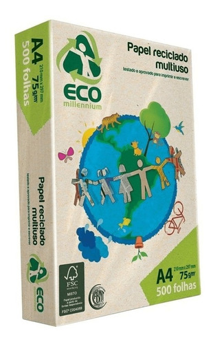 Papel Reciclado A4 75g Pacote Com 500 Folhas Eco Millennium