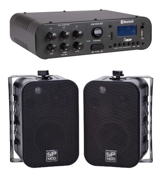 Kit Amplificador Sa100bt Bluetooth 2 Caixas Sp 400 Preta Nca