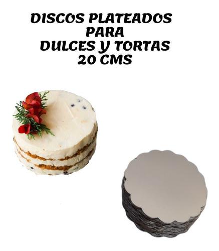 Discos Plateados Para Torta Ingra De 20 Cms ( 50 Und)
