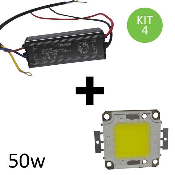 Chip + Reator Driver Reposição Refletor Led 50w Bivolt Kit 4