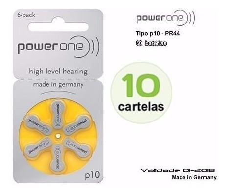 Baterias Aparelho Auditivo/power One P10 - Cx C/10 Cartelas