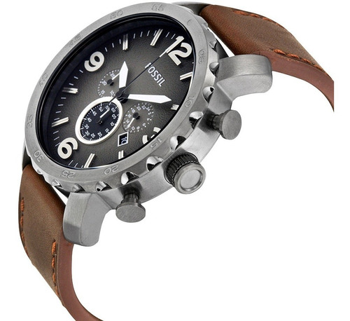 Relógio Masculino Fossil Jr1424/2pn 53mm Couro Marrom + Nf-e