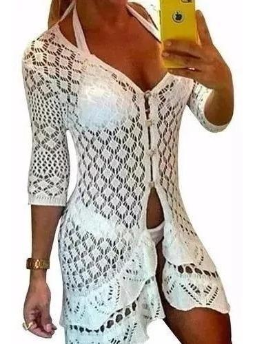 Saida Praia Curta Botoes Blusa Vestido Crochê Branco