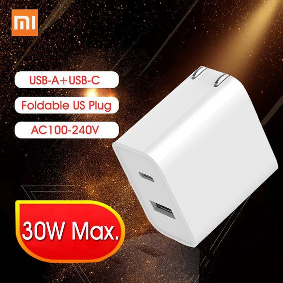 Carregador Rápido Xiaomi Usb 30 W 1a1c Dobrável Eua Plug