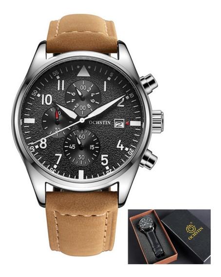 Relógio Social Masculino Luxo Pulseira De Couro C/ Caixa