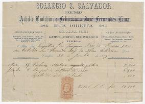 Brasil 1879 Nota Fiscal Do Colégio S. Salvador Em Campos Rj