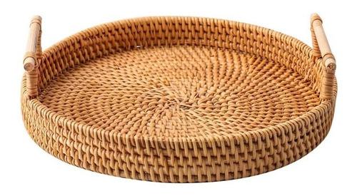 Imagen 1 de 8 de Bandeja Rattan Con Asas Circular Rustica Decorativa 24cm