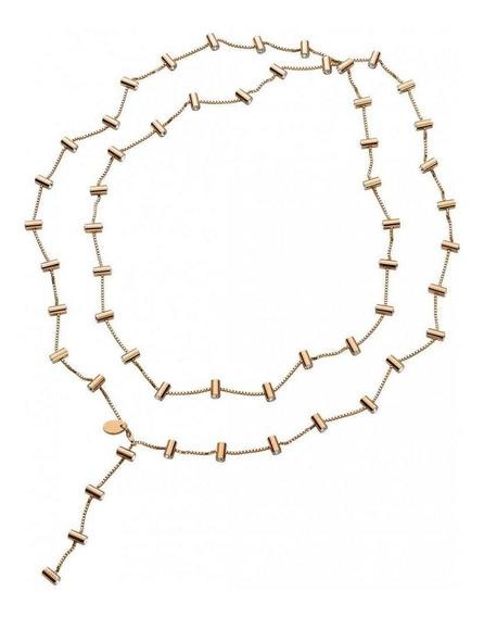 Collar Lustro Necklace Rose Gold White Crystal Dorado Swatch