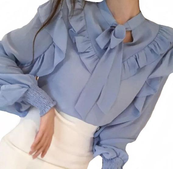 Camisa Feminino Blusa Social Manga Longa De Luxo