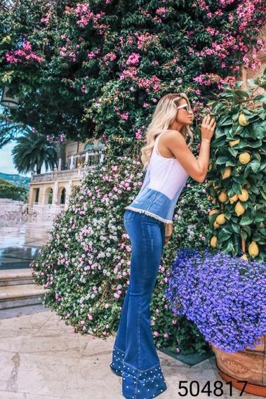 Calça Jeans Flare Zigma Com Pérolas Ideal Para Pessoas Altas