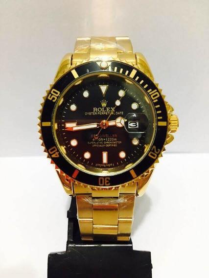 Relógio Submariner Dourado E Preto 40mm Unissex Novo