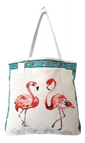 Bolsa Lona Estampa Flamingo Moda Verão Sacola Feminina