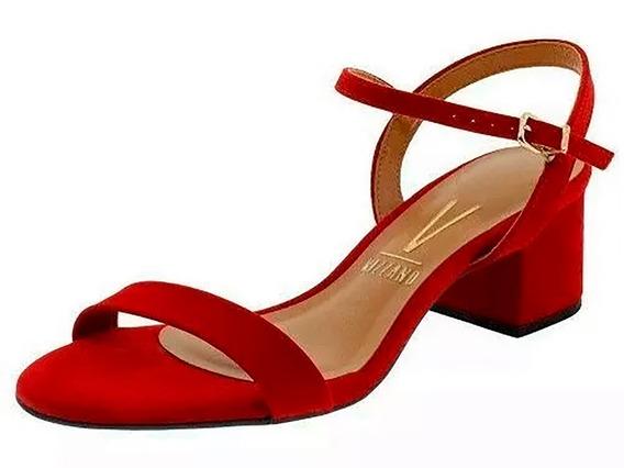 Sandalia Feminina Vermelho Vizzano Salto Bloco Baixo Medio