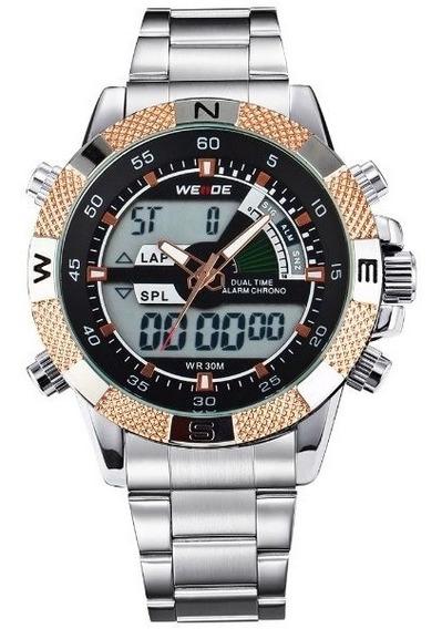 Relógio Masculino Weide Anadigi Wh-1104 Dourado