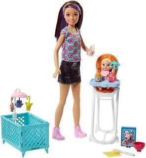 Muñeca Barbie Babysister Incluye Silla Comer Y Cuna